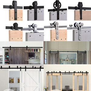 2.5FT-20FT Sliding Barn Wood Door Hardware Closet Kit SingleDoubleBypass Doors