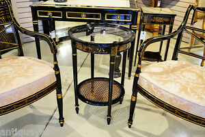 Gorgeous Black Lacquer CHINESE Chinoiserie Glass Cane Lamp Table New Custom $1149.00