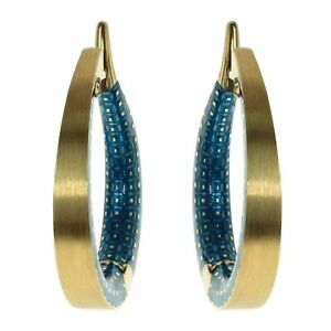 Mousson Blue Topaz Colored Enamel 18K Yellow Gold Kaleidoscope Hoop Earrings