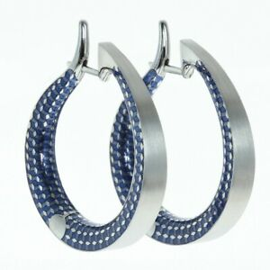 Mousson 18 Karat White Gold Kaleidoscope Enamel Hoop Earrings