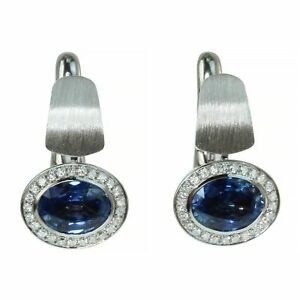 Mousson Blue Sapphire Diamonds Colored Enamel 18K W. Gold Kaleidoscope Earrings