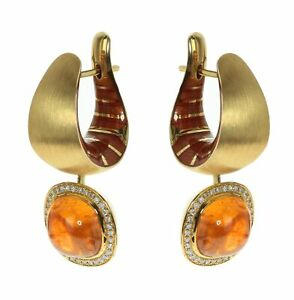 Mousson Diamond Mandarin Garnet 18K Yellow Gold Kaleidoscope Enamel Earrings