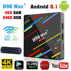 H96 Pro MAX + 4GB 32 64GB Android 8.1 TV Box 4K 2.4G5G Smart Home Media Player