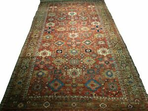 All-Over Design Antique Original Persian Handmade 11x19 Red Heriz Wool Rug