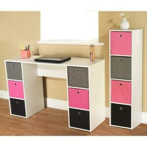 Kids Desk Bookcase Bins Set White Pink Girl Teen Furniture Room Office New