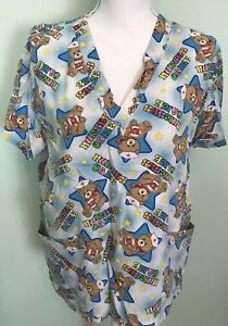 Friends Of The Heart Womens Scrub Small Shirt Nurses Care Teddy Bears