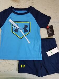 Under Armour Short Set Outfit Blue Baseball Toddler Boys NWT 18M