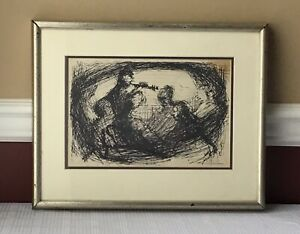 Vintage Lithograph Framed Depicts Musicians $21.00
