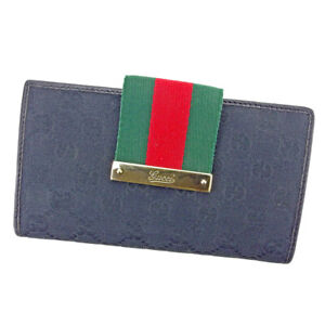 Gucci Purse GG canvas Black Green Red Gold Women Men Auth T9490