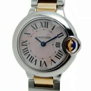Cartier Baron Blue SM/SS/PG/Pink Shell W6920034 Ladies Watch From Japan [b0616]