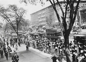 James VAN DER ZEE: Parade, 138th St., Harlem, 1920s Silver Ptd 1982 SIGNED