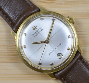 Vintage HAMILTON PANEUROP Automatic Cross Hair Gold Plate Watch NEW CRYSTALBAND