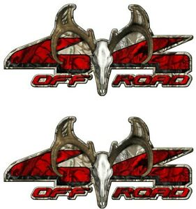 4x4 Off Road Truck Decals Buck Skull Deer Skull Camo Bed Tailgate Vinyl a006BU