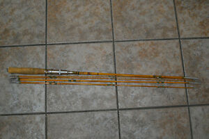 Vintage Antique Nikko bamboo fly fishing pole barely used 3 piece Fenwick case