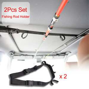 Universal Car Fishing Pole Holder Fishing Rod Storage Rack Nylon Lace Adjustable