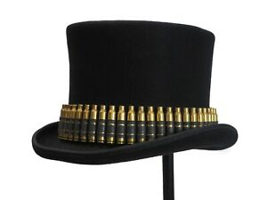 Hat Band Real Bullet Brass Shell .223 Caliber 56 Bullet Tophat Cowboy Punk Rock