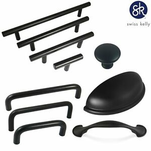 Swiss Kelly Hardware Matte Black Kitchen Cabinet Handles Drawer Pulls $3.66