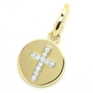 Auth Cartier Cross Round Plate Diamond Charm 750(18K) Yellow Gold