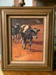 Antique Original Oil Painting Jack Elmo King Western Artist Cows Cattle 12x16