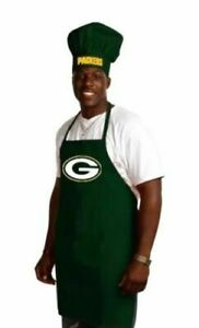 GREEN BAY PACKERS NFL APRON & CHEF'S HAT SET BARBECUE TAILGATING COOKING
