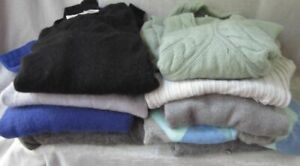 100% Cashmere Fabric Cutter Lot 9 Flawed Sweaters DIY Craft Upcycle 4 lbs