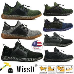 Men's Work Safety Shoes Steel Toe Boots Indestructible Breathable Light Hiker US