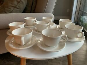 8 Buffalo China Restaurant Ware Cup & Saucer Sets Ivory White