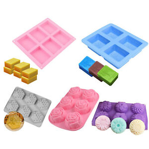 6 Cavity Rectangle Soap Mold Silicone Baking Mould Tray For Homemade Craft DIY $8.97