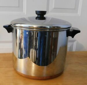 REVERE WARE 8 QT. STOCK POT W LID TALL STAINLESS STEEL COPPER CLADPROCESS