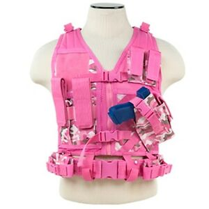 NcSTAR Tactical Youth Sized Nylon Holster Magazine Pouch Vest w Belt Pink Camo