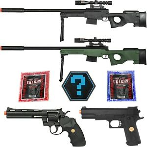 300 FPS Airsoft Sniper Gun L96 1911 357 Recon Loadout + 2000 BBs Mystery Patch