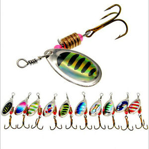 10PCS Fishing Lures Metal Spinner Baits Bass Tackle Crankbait Trout Spoon Trout