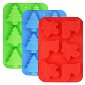 3 Pack Silicone Molds, Shapes of Christmas Trees, Socks and FG-tree+sock_mold