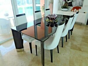 Modern EXQUISITE Italian DESIGNER Dining TABLE by MALERBA & 6 CHAIRS by SORESSI