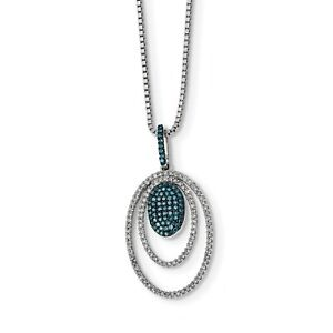 Sterling Silver Rhodium Plated Blue & White Diamond Ovals Pendant