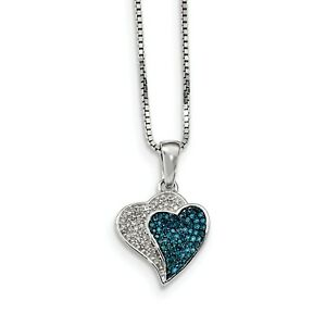 Sterling Silver Rhodium Plated BlueWhite Diamond Hearts Pendant