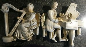 Vtg 1961 Antique Universal Statuary Corp Chalkware Couple Wall Hangings