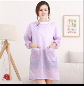 Color Kitchen Waterproof and Oilproof Long Sleeve Apron Cooking Work Apron $8.99