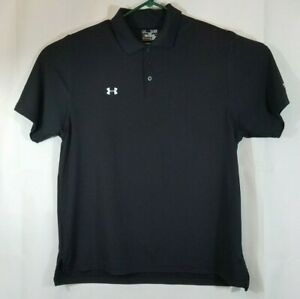 Under Armour Loose Heat Gear  Black Golf Polo Shirt Mens XLT