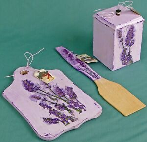 Kitchen set board spatula wooden box with lid lavender box Provence Style decoup