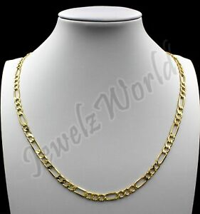 10K Solid Yellow Gold Figaro Link Chain Necklace 2.5MM 16 18 20 22 24 30