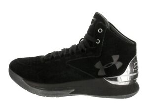 Under Armour Men's Curry 1 Lux Mid Suede Basketball Shoes Black Size 12.0M