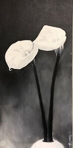 CALLA LILY Oil Painting Impressionism 12x24 Flower Still Life By A.Echevarria $25.00