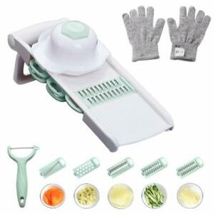 Mandoline Slicer Cut-Resistant Gloves Vegetable Peeler 5 Interchangeable Stainle
