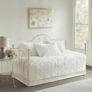 Luxury 5pc White Soft Cotton Chenille Daybed Set AND Decorative Pillow Shams $129.99