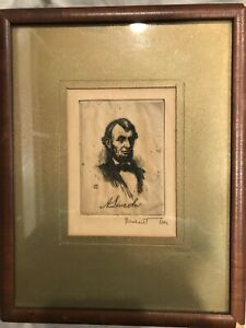 Abraham Lincoln Picture Parlor Card Drawing Bernhardt Wall Signed 1924 $599.99