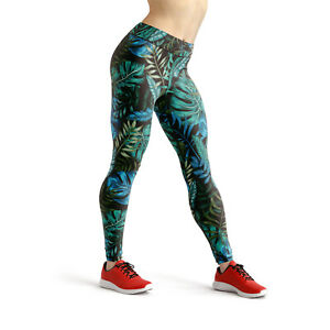 Tropical Hawaiian Womens Leggings High Waisted Yoga Leggings Green Workout Pants