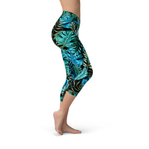 Hawaiian Print Green Tropical High Waisted Capri Workout Leggings for Women