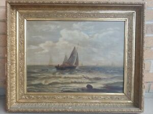 ANTIQUE EUROPEAN SCHOOL OIL ON CANVAS PAINTING OF SHIPS AT SEA FRAMED