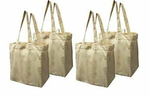 Earthwise Cotton Canvas Reusable Shopping Grocery Bag Tote 4 Pack